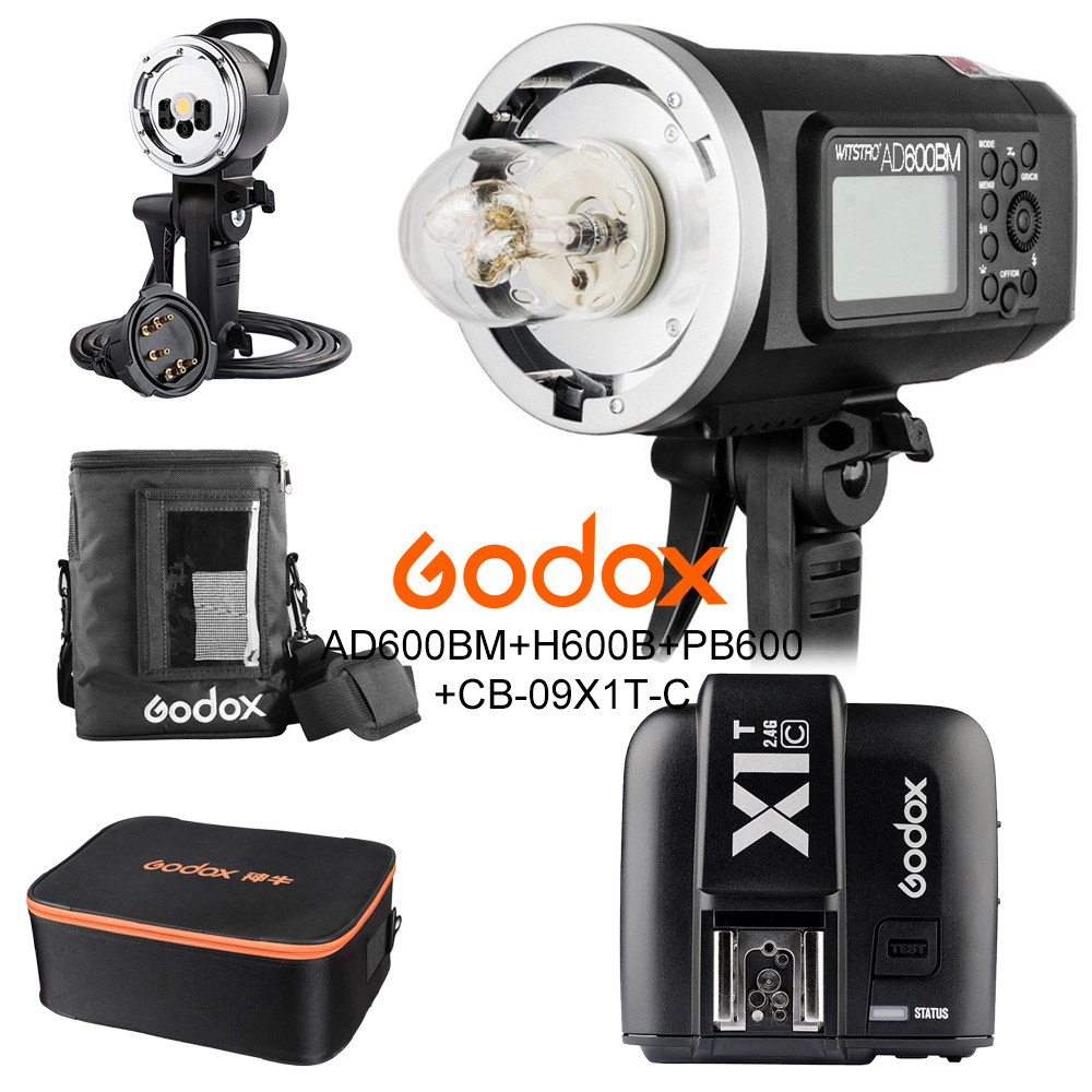 <font><b>Godox</b></font> <font><b>AD600BM</b></font> 600W HSS 1/8000 2.4G Wireless Outdoor flash+X1T-C+AD-H600B+PB-600+CB-09 Kit for Canon 5D 6D M6 7D Mark II 800D image