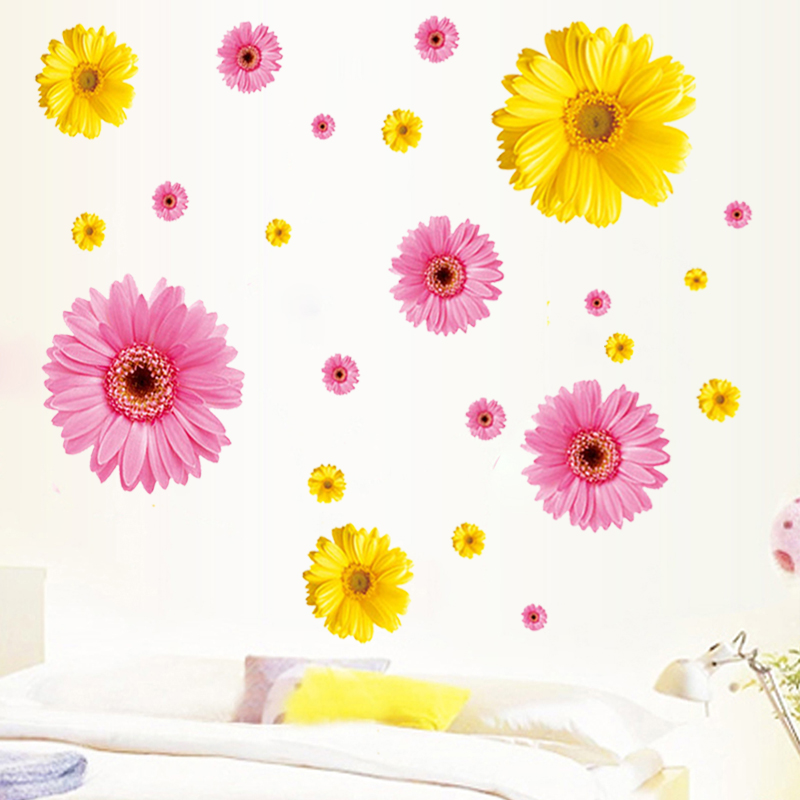 Personalized Daisy Flowers Name removable vinyl wall decal