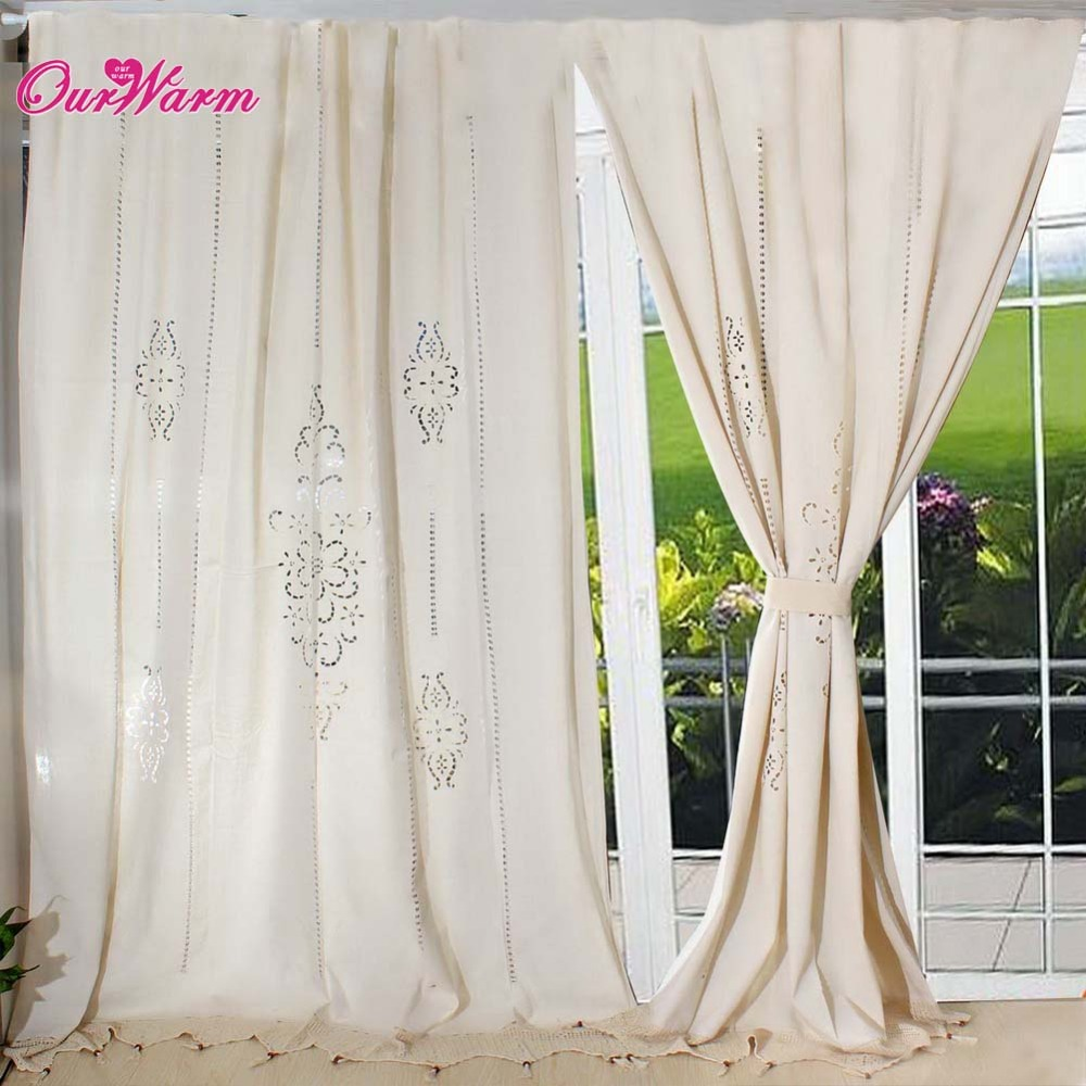 Buy Hottube Curtain French Country Cotton Linen Crochet Lace Panel Drape