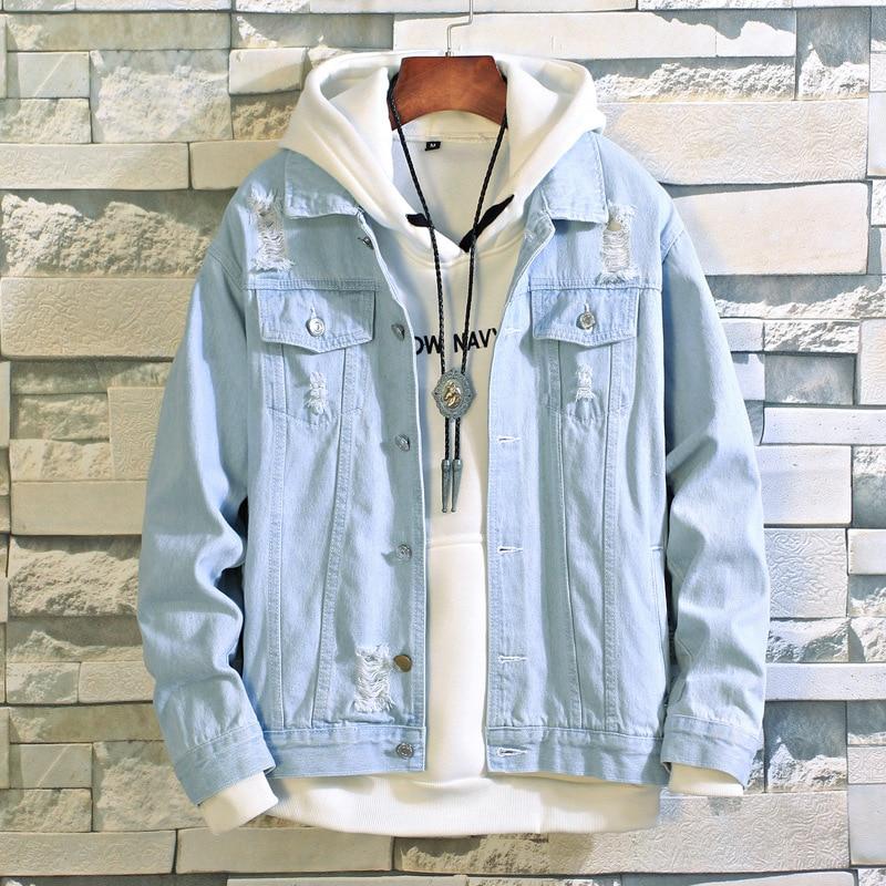 COCO 2020 Men's Long Sleeve Shredded Lapel Denim Jacket Tide Teen Slim Jacket