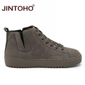 Image 2 - JINTOHO zapatos de invierno para hombre, botas de nieve de cuero marrón casuales, botas de invierno baratas