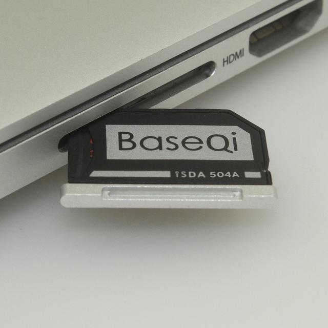 504a minidrive baseqi alumínio originais cartão micro sd adaptador de cartão leitor para o macbook pro retina 15 ''model tarde 2013/após