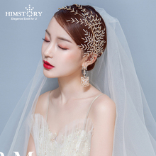 Himstory  Wedding Bridal Hairpins Branch Crystal Hairgrips Prom Jewelry Silver Leaf Hair Accessories Pins Hairwear Jewelries