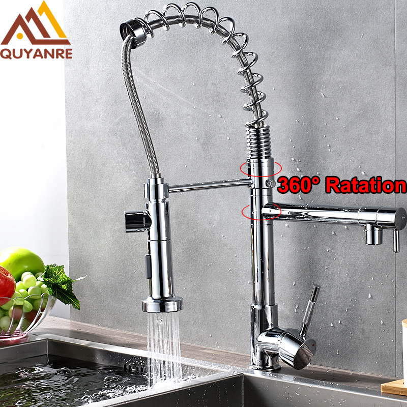 Promotion Chrome Finished Mixer Hot and Cold Water Kitchen Faucet Dual Sprayer Swivel Spout Pull Down Vessel Sink Mixer Tap new brush nickel and chrome finished pull out spring kitchen faucet swivel spout vessel sink mixer tap pull down kitchen faucet