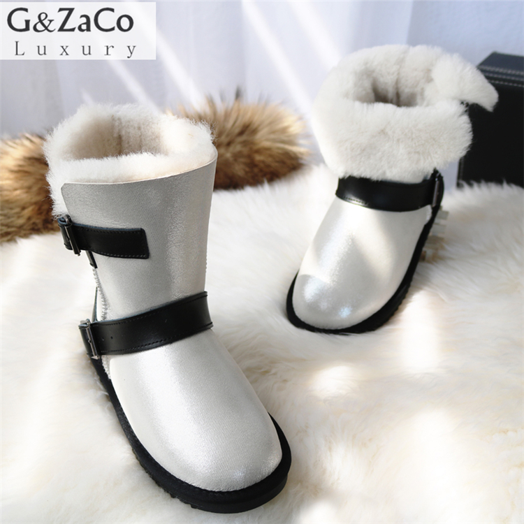 G&Zaco Luxury Winter Sheeoskin Fur Boots Natural Wool Knight Boots Sheep Fur Women Genuine Leather Female Mid Calf Buckle Boots double buckle cross straps mid calf boots