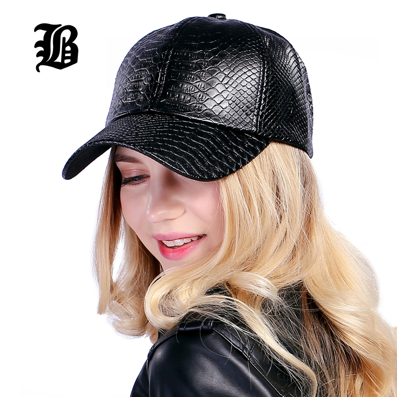 [FLB] Cool! New fashion PU black Baseball Cap kvinnor Hattar För - Kläder tillbehör - Foto 3