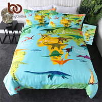 BeddingOutlet Dinosaur Bedding Set Jurassic Kids Duvet Cover Set Cartoon Map Bedclothes for Boys Ocean 3pcs Blue Green Bedlinen