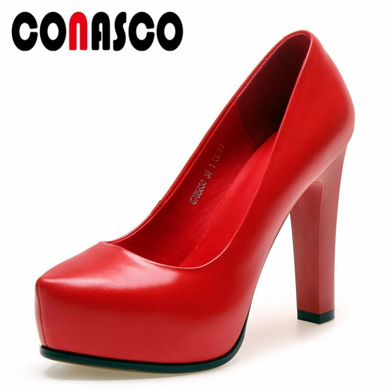 Zapatos Plataformas Tacones Boda Altos On Cm 11 Básicas Slip Conasco Bombas  Prom rojo Fiesta Cuero Genuino Mujer ... 49043d9482f7