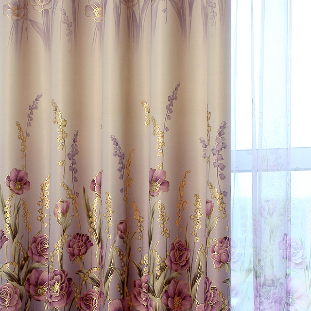 Buy Luxury Living Room Curtains Purple Hooks Top Drapes Golden Printed Bedroom