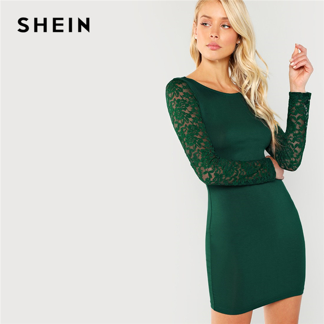 6f6083d44024 SHEIN Green Elegant Party Floral Lace Insert Form Fitting Long Sleeve  Workwear Solid Dress 2018 Autumn Casual Women Dresses