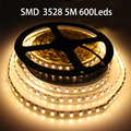 Super Bright DC12V 5M 3528 SMD 120Led/M 600Leds Non-Waterproof  White/Warm White/green/blue/red Flexible LED Strip