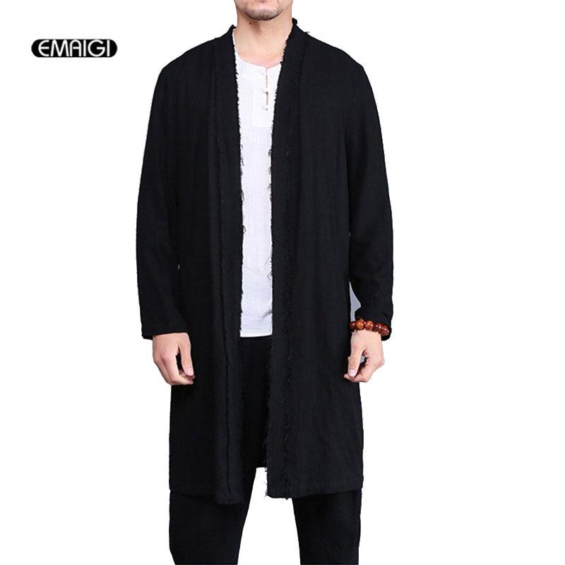 100% QualitäT Männer Baumwolle Leinen Strickjacke Trenchcoat Punk Stil Männlichen Vintage Gebrochen Lange Jacke Mode Windjacke Oberbekleidung
