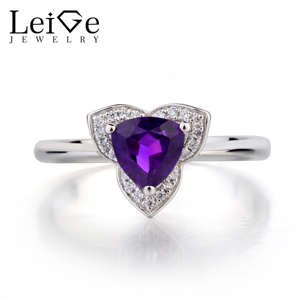 Leige Jewelry Natural Amethyst Ring Engagement Rings Trillion Cut 925 Sterling Silver Purple Gemstone Ring February Birthstone jewelrypalace trillion 1 1ct natural purple amethyst solitaire ring 100% 925 sterling silver women fashion jewelry big promotion
