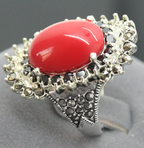 free shipping noble 16*27mm 925 STERLING SILVER MARCASITE RED CORAL RING SIZE 7/8/9/10
