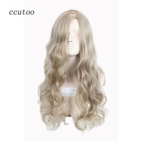 Ccutoo 80cm Pink Blonde Mix Long Wavy Synthetic Hair Party Cosplay Costume Wigs Peluca Heat Resistance