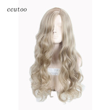 ccutoo 80cm Blonde Mix Long Wavy Synthetic Hair Party Cosplay Costume Wigs Heat Resistance Fiber