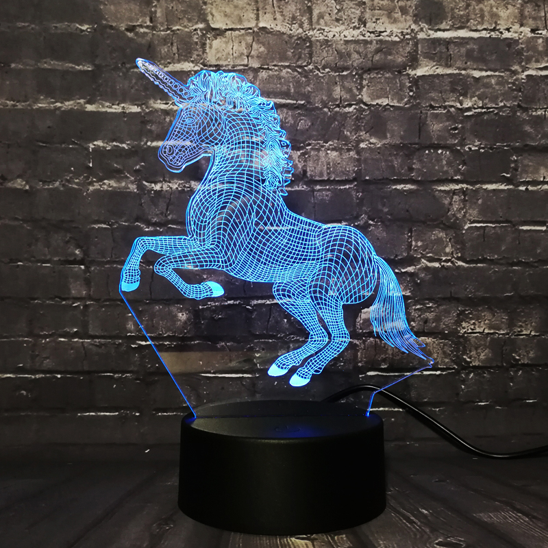 Creative New 2019 3D LED Lamp Night Light Unicorn Horse RGB Bulb Party Decoration Christmas Gift Cartoon Luminaria Lampara