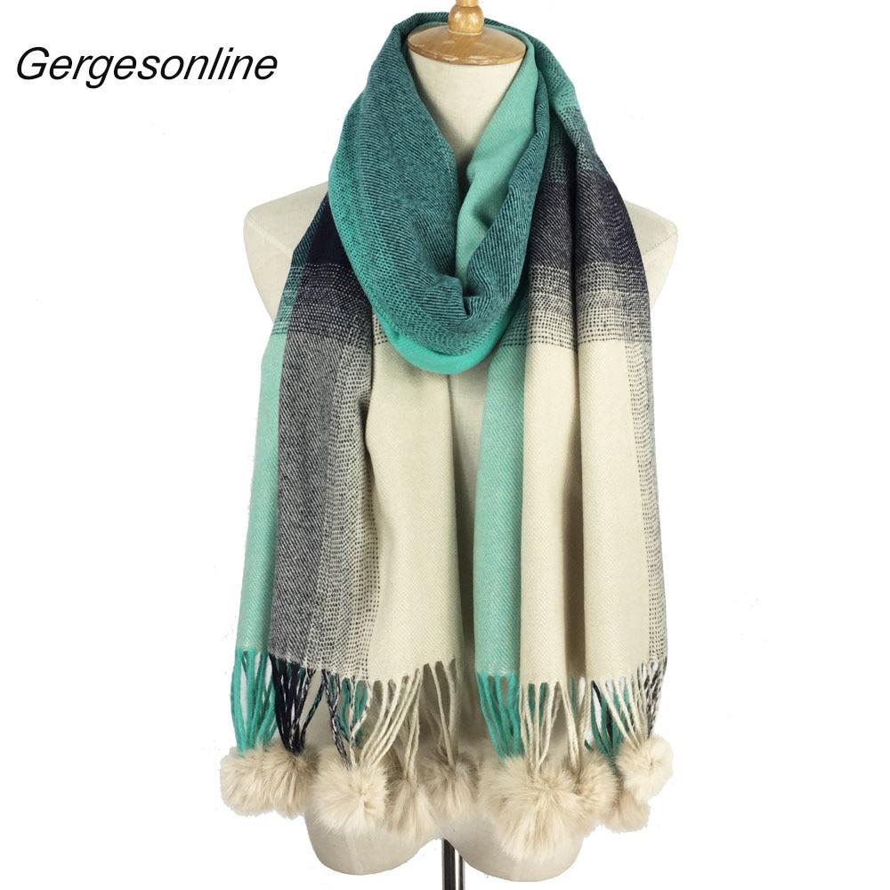 Elegant soft comfortable cashmere wool women ladies rabbit fur pom poms scarf wholesale