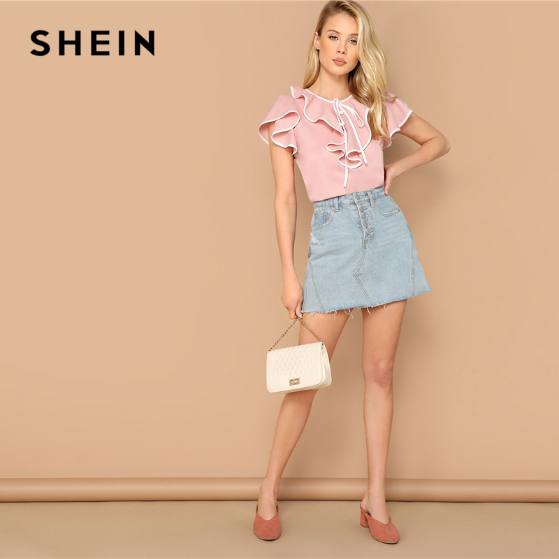 bd9f8a6a3c53 Aliexpress.com : Buy SHEIN Sweet Pink Keyhole Back Ruffle Trim Flutter  Sleeve Top Summer Blouse Women Contrast Binding Cute Elegant Tops and  Blouses from ...