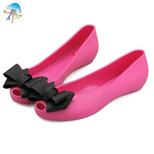 beach jelly shoes with butterfly knot  summer women fashion lady's flat casual sandals waterproof non-slip colorful sandals