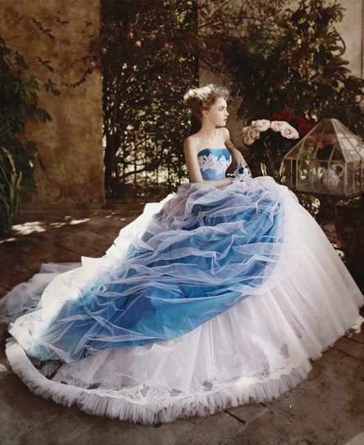 Buy vintage blue and white ball gown for Where to buy non traditional wedding dress