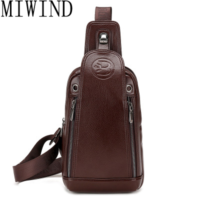 MIWINDBrand Bag Men Chest Pack Single Shoulder Strap BackBag Leather Travel Men Crossbody Bags Vintage Rucksack Chest Bag TND083