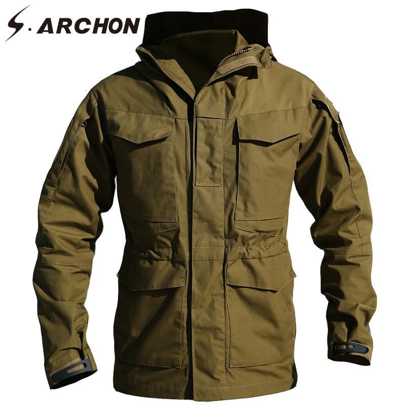 S. ARCHON nowy M65 wodoodporny Pilot wojskowy kurtki mężczyźni wiatrówka kurtka mężczyzna z kapturem kieszeni kamuflaż taktyczny pola armia płaszcz w Kurtki od Odzież męska na  Grupa 2