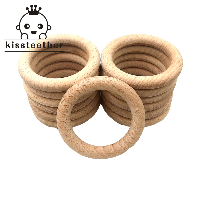 Beech Wooden Ring Teether Nature Organic (68mm) Baby Teething Toy Accessories Wood Ring For Bracelet Eco-friendly Wood Teether