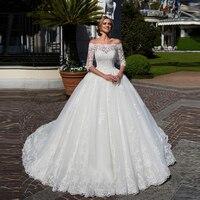 Скромные свадебные, с рукавами до локтя платья 2019 арабский c оголенными плечами с аппликацией и кружевами Свадебный Свадебные платья молния