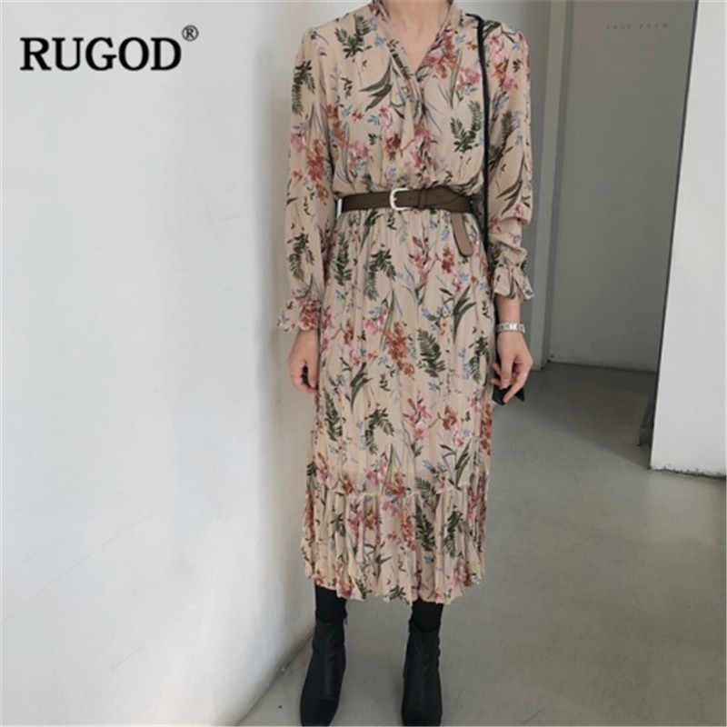 RUGOD Vintage Tropical Rainfore Print Pleated Dress Women Fashion Long Sleeve Summer Dress Casual Slim Long Dress  BeltVestidos