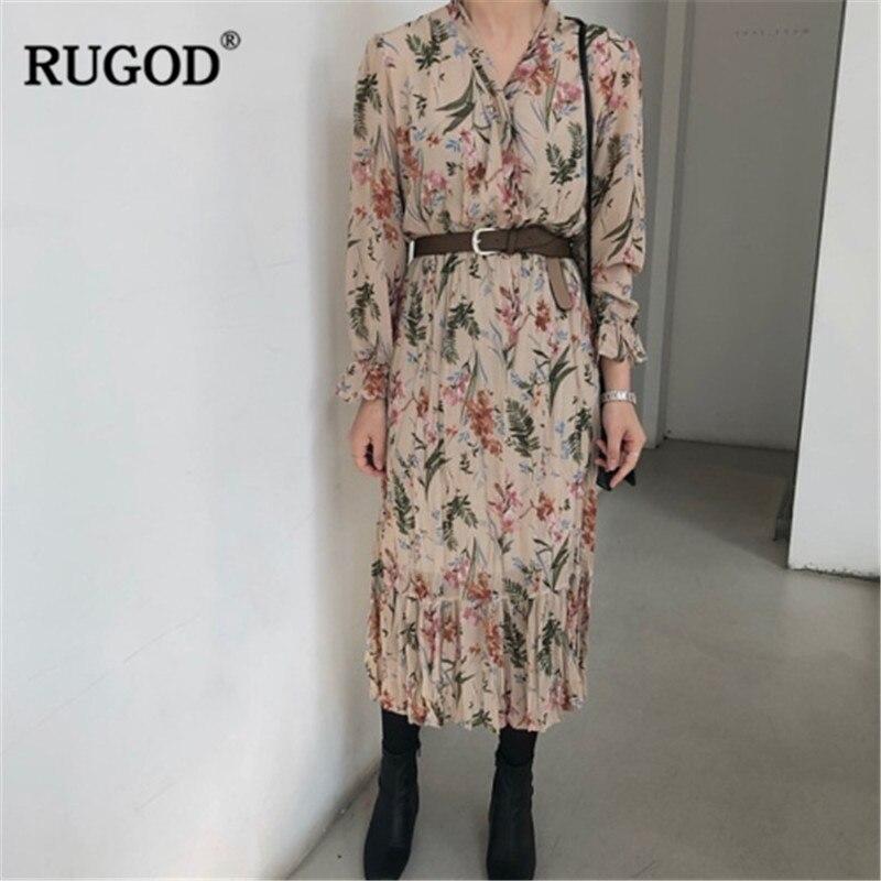 RUGOD Vintage Floral Print Dress Women Fashion Belted V Neck Long Sleeve Shirt Dress 2019 Spring Long Chiffon Dress Vestidos