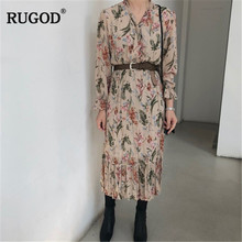 RUGOD Vintage Tropical Rainfore Print Pleated Dress Women Fashion Long Sleeve Summer Dress Casual Slim Long Dress Vestidos недорого