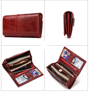 Image 5 - Rfid Long Wallet  Women Genuine Leather Female Designer Purse Luxury ID Credit Card Holder Cell Phone Coin Pocket Money Bag