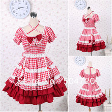 V-1204 Rote kurzhülse baumwolle Süße Schule Lolita Kleid/viktorianischen kleid Cocktailkleid/halloween-kostüm US6-26