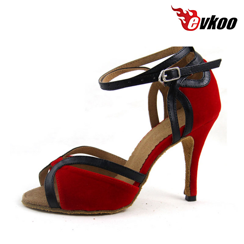 Evkoodance Red High Heels  Latin Dance Shoes 8.5cm Heel Height Women Square Salsa Dance Shoes Wedding Party Shoes Evkoo-452 canvas shoes women black red jazz shoes ballet dance shoes split heels sole sl02138b2