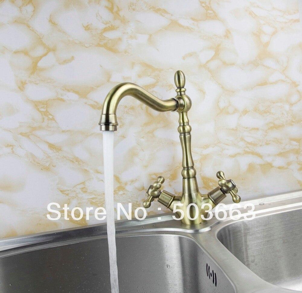 Promotions Double Handle Kitchen Swivel Sink faucet Mixer Tap Vanity Faucet antique brass Crane S 137