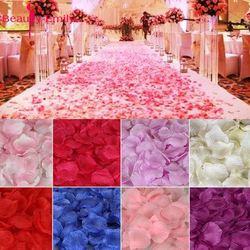 2000 pçs/lote 5*5cm pétalas de rosa de seda para decoração de casamento, pétalas de rosa artificiais românticas flor de casamento rosa