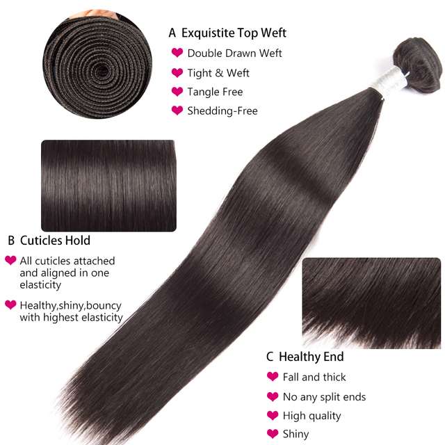 Brazilian Straight Hair Weave Bundles Remy Human Hair Straight 3 4 Bundles 8-28 Inch Hair Extension ALIPOP 2