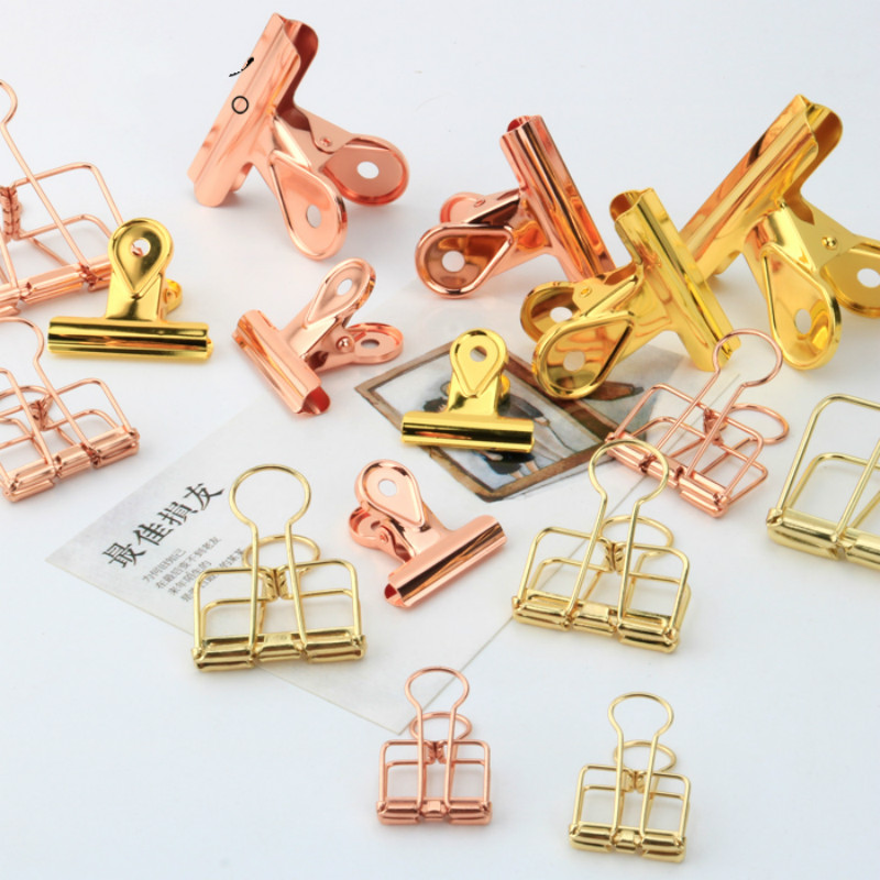 Rose Gold 32mm Document Clip Stationery Creative Lovable Examination Paper Clip Hollowed Out Hand Account Office Metal Dovetail