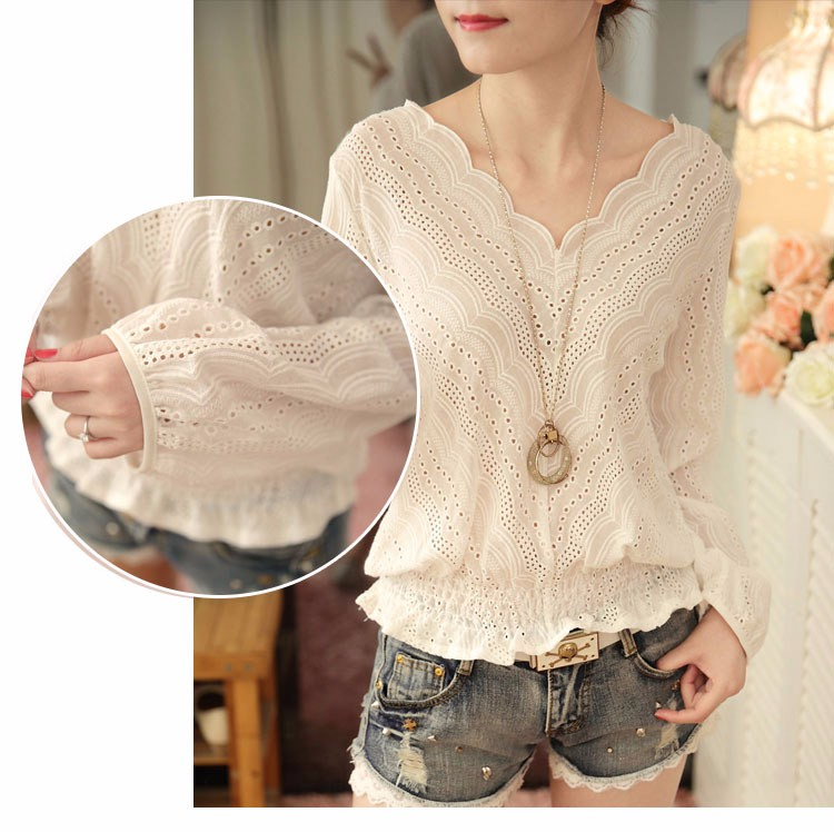 Blusas Femininas 2016 Spring Autumn Women Fashion Plus Size Hollow out Lace Blouse Long Sleeve Sexy Loose White Tops Shirt A602 b