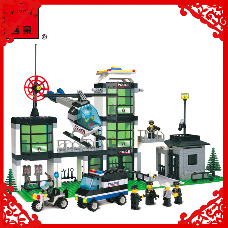 City Police Station Guard SWAT Model Building Block Toy Compatible Legoe ENLIGHTEN 110 466Pcs Educational Gift For Children b1600 sluban city police swat patrol car model building blocks classic enlighten diy figure toys for children compatible legoe
