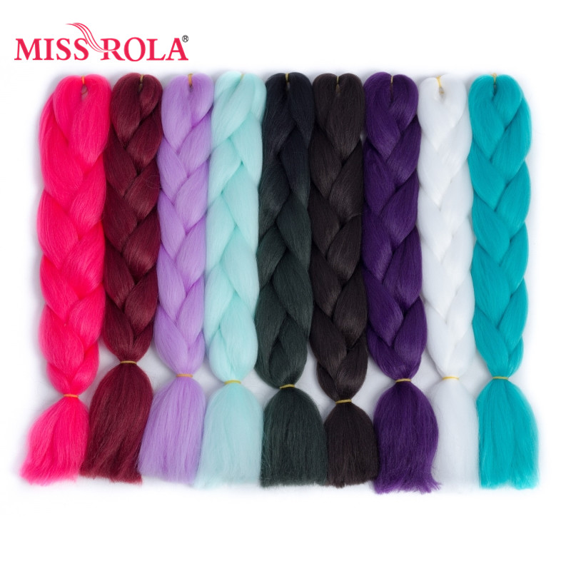 Miss Rola 24inch Jumbo Braiding Synthetic Hair Extensions 100g High Temperature Fiber Ombre Tone Crochet Braiding Hair 89 Colors