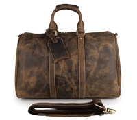 Handcraft Vintage Crazy Horse Leather Unique Tote Luggage Travel Bags 7077B 1