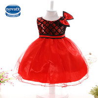 NOVATX dresses for girls clothes flower beige sequined wedding party dress with bow 2017 summer princess red dress clothes BH808