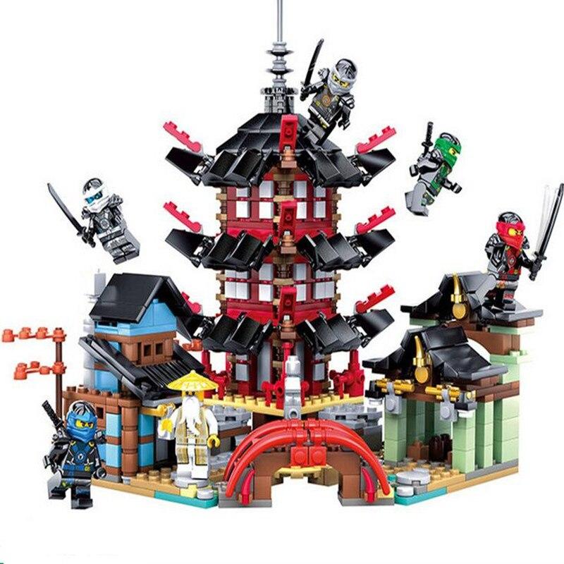 737pcs Diy Compatible With Legoingly Ninjagoes Temple of Airjitzu Ninjagoes Smaller Version Blocks Sets Bricks Toys For Children