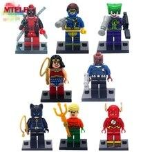 MTELE 8pcs lot Super Hero Superheroes Kid Toy Lepin Figure Building Blocks Sets Figures Brick For