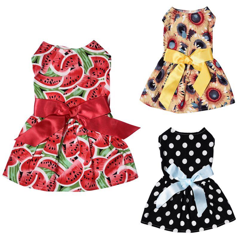 Home Cute Polka Dot Ribbon Dog Dress Dog Clothes Cozy Sleeveless Dog Shirt Pet Dress Sundress Princess Party Small Dog Skirt