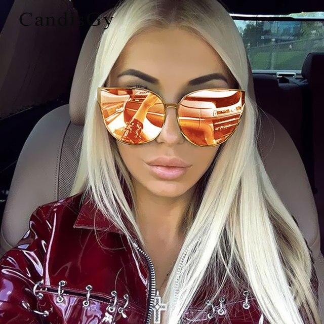 Cool Fashion Hip Hop Surdimensionné Miroir Rose lunettes de Soleil Cat Eye  Femmes Hommes lunettes de f760516efd80