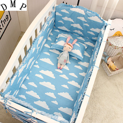 Promotion! 6pcs Cartoon bumpers for cot bed Cotton Baby Set Baby Bedding Set (bumpers+sheet+pillow cover)