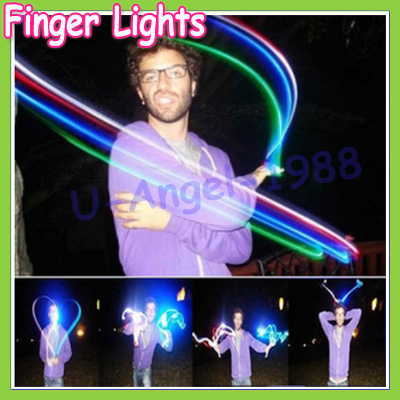 Free shipping 20pcs/lot 4 color LED finger light,Leaser finger lamp,chrismas night light,flashing children toy party toy(5 set)